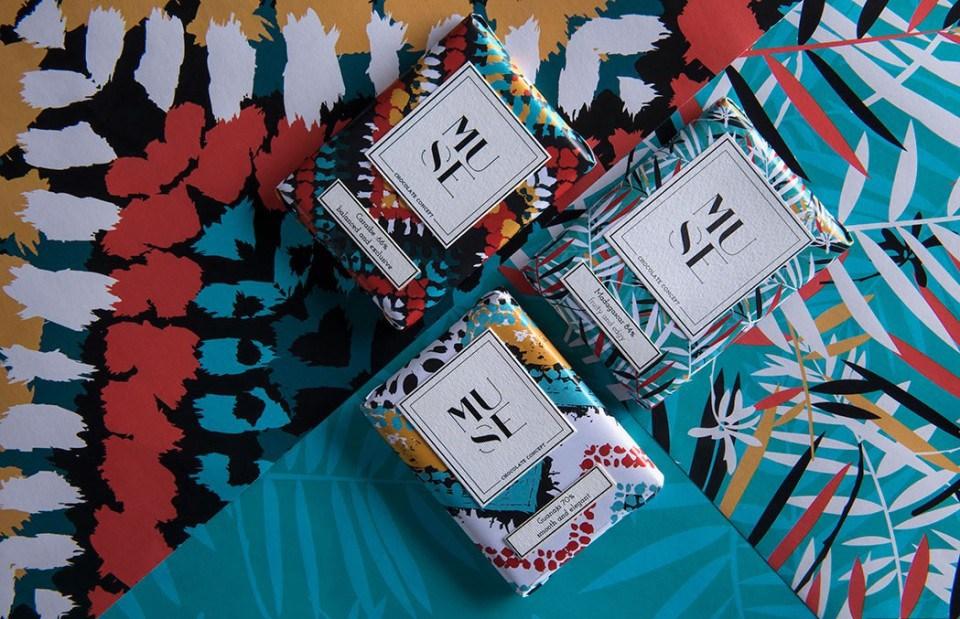 缪斯巧克力非洲色彩印象包装袋设计